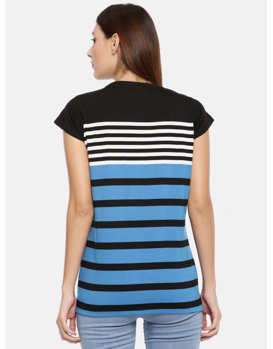 Women Black & Blue Striped Top