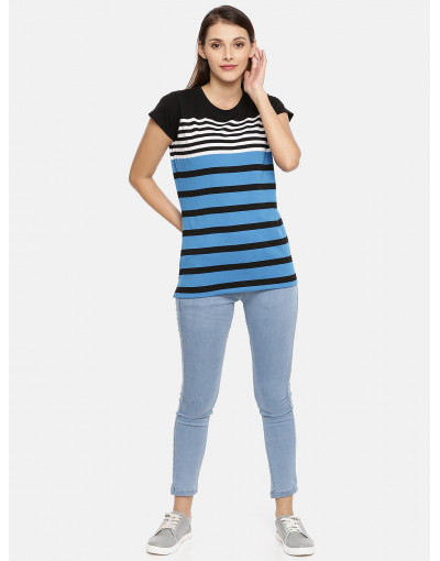 Women Black & Blue Striped Top