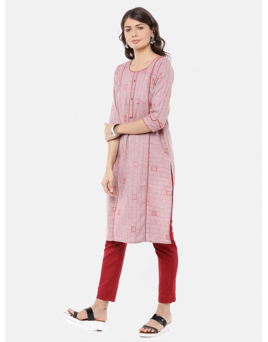 Women Pink & Red Printed Kurta