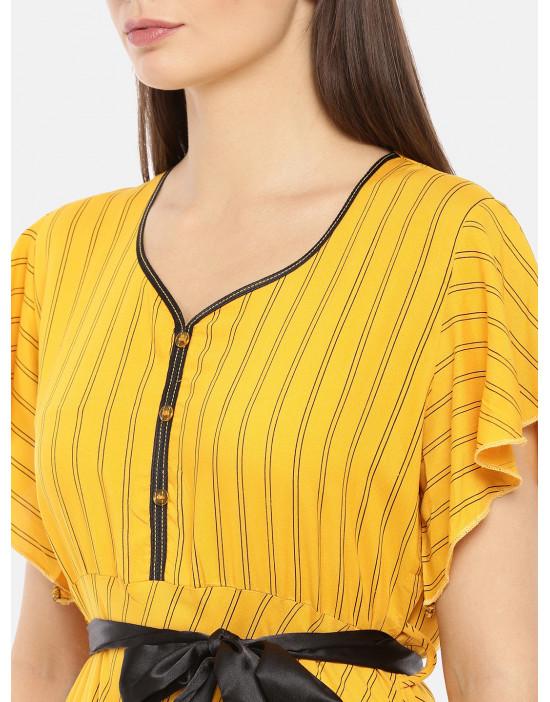 Womens Round Neck Yellow...