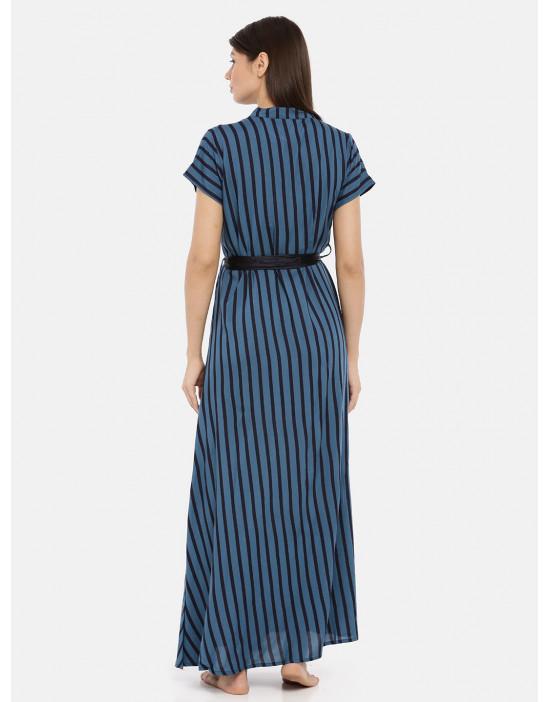 Womens Mandarin Neck Blue...
