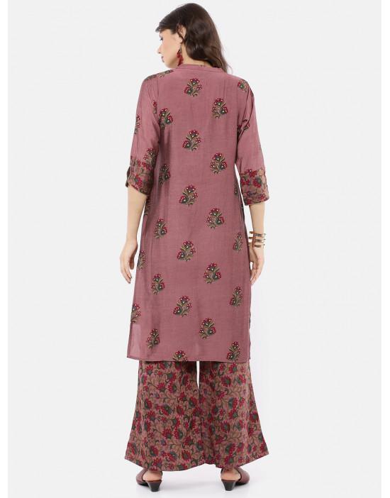 Women Straight Pink Print...