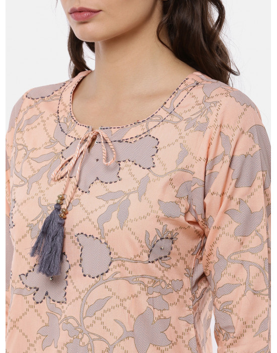 Women Peach Printed Kurta...