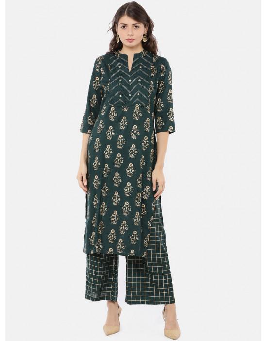 Women Straight Green Print...