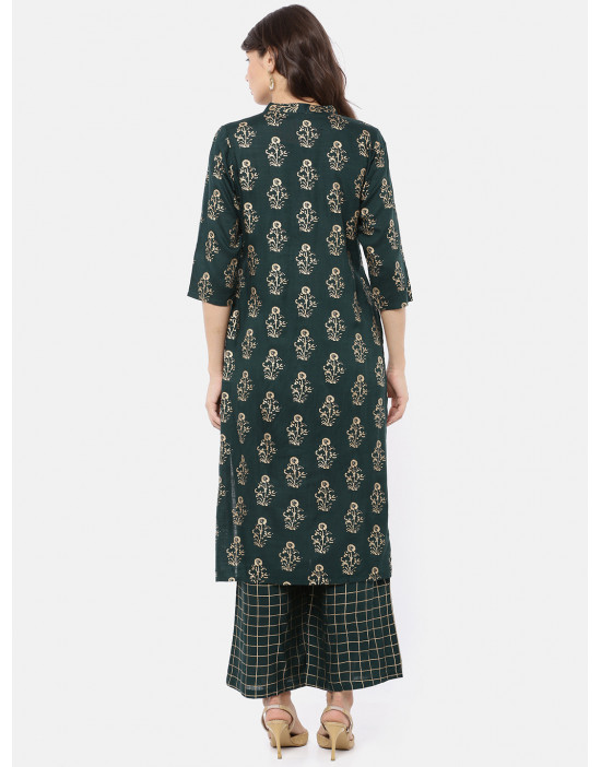 Women Straight Green Print...