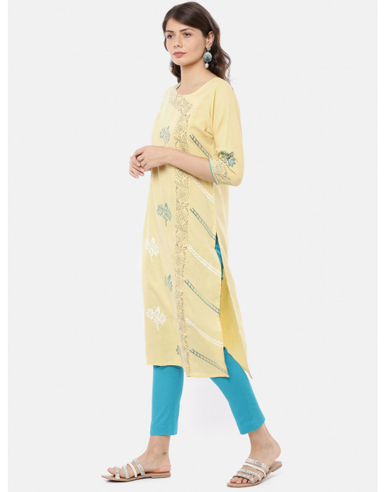 Women Yellow & Blue Printed...