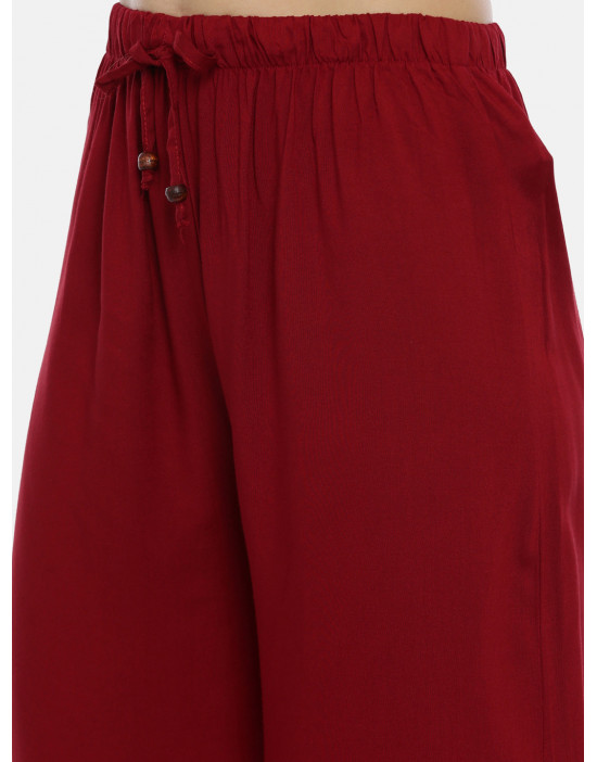 Womens Maroon Solid Cotton...