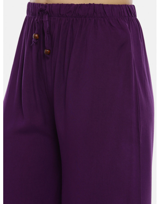 Womens Purple Solid Cotton...