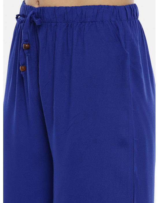 Womens R.Blue Solid Cotton...