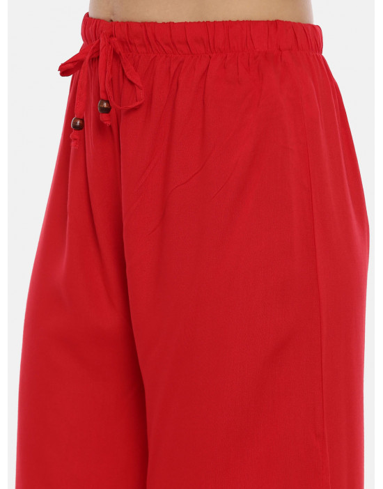 Womens Red Solid Cotton...