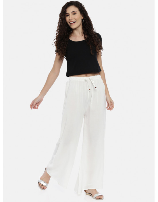 Womens White Solid Cotton...