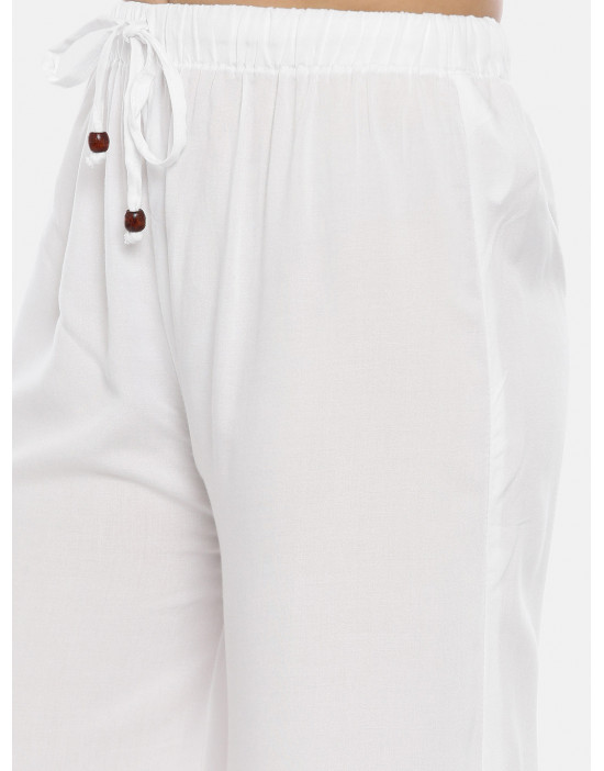 Womens White-2 Solid Cotton...