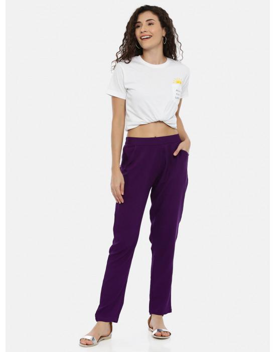 Womens Purple Rayon Fabric...
