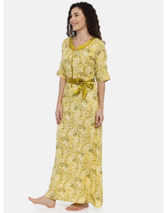 Womens Yellow Printed...