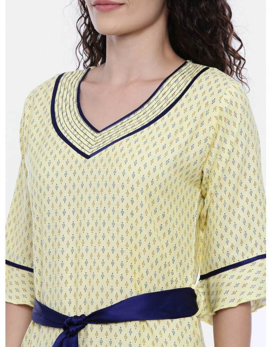 Womens Yellow Printed...