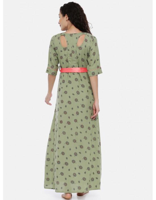Womens Green Printed...