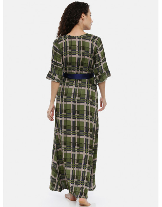 Womens Green Printed...