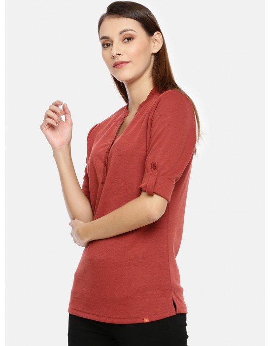 Womens Maroon Solid Shirt...