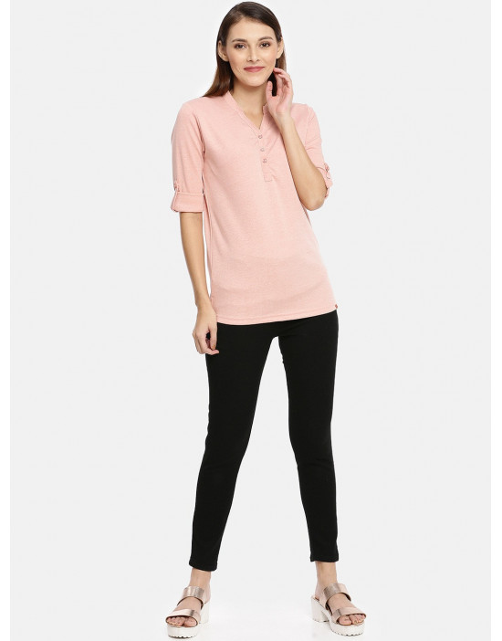 Womens Peach Solid Shirt...