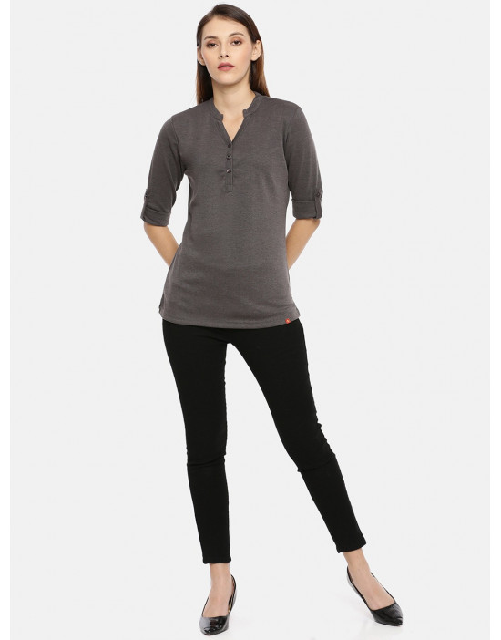 Womens Charcoal Solid Shirt...