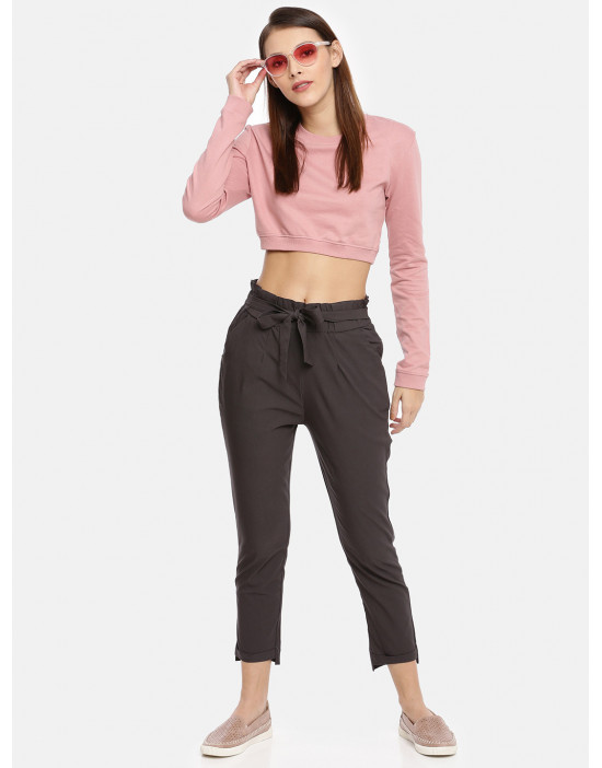Womens Grey Solid Cropped...