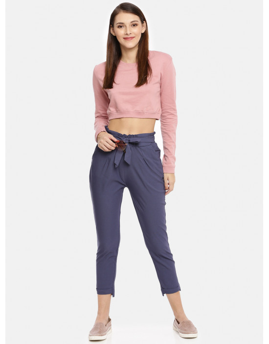 Womens Indigo Solid Cropped...