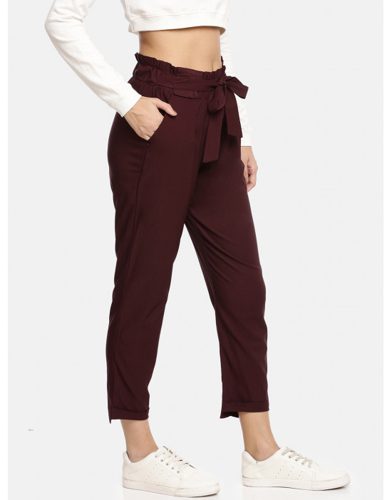 Womens Maroon Solid Cropped...
