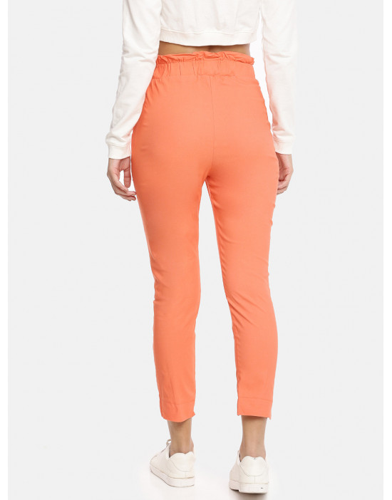 Womens Orange Solid Cropped...
