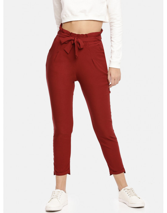 Womens Red Solid Cropped...