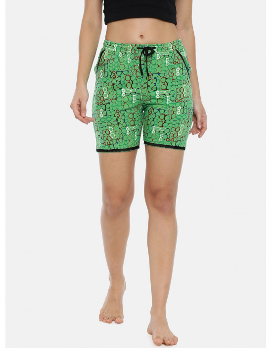 Womens Green Printed Cotton...