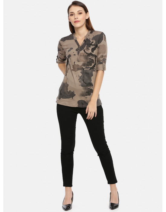 Womens Brown & Grey Printed...