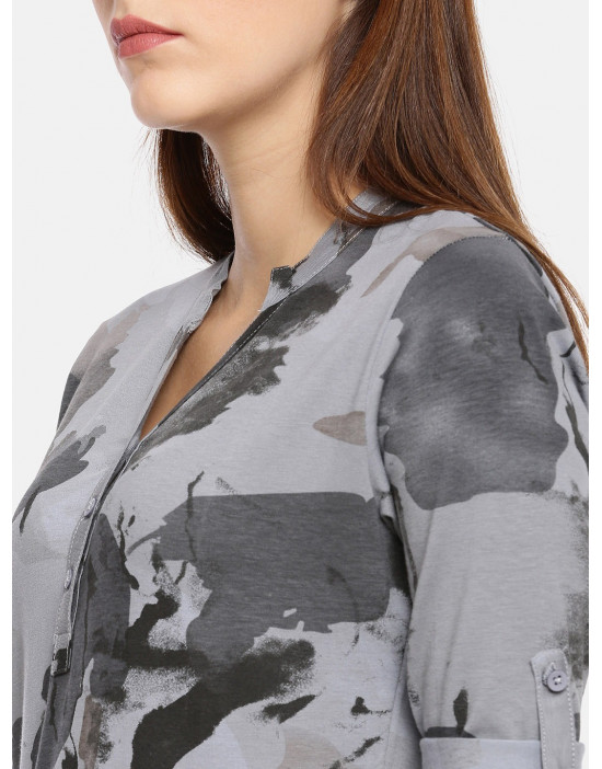 Womens Grey Printed Shirt...