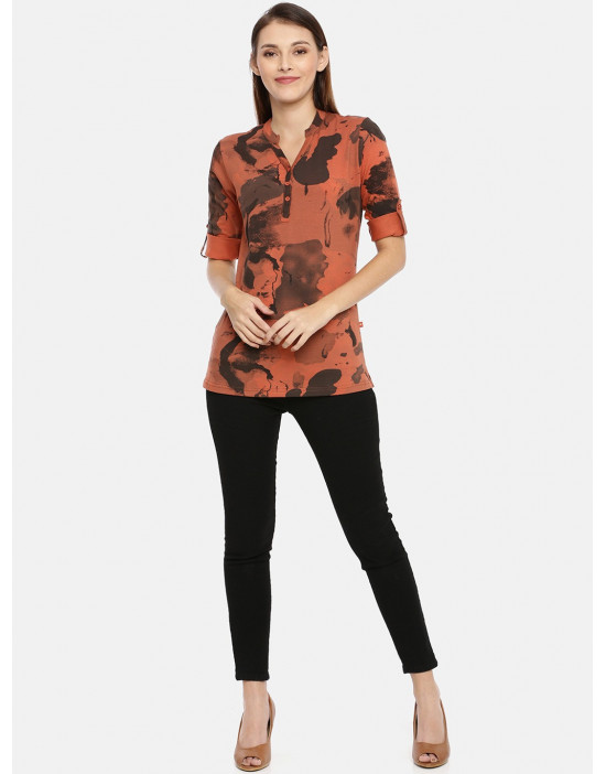 Womens Orange Printed Shirt...