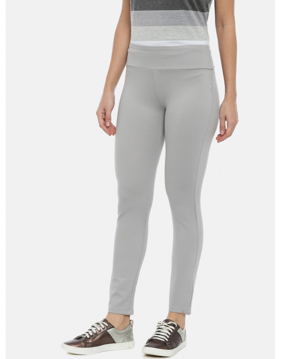 Womens Grey Solid Regular...