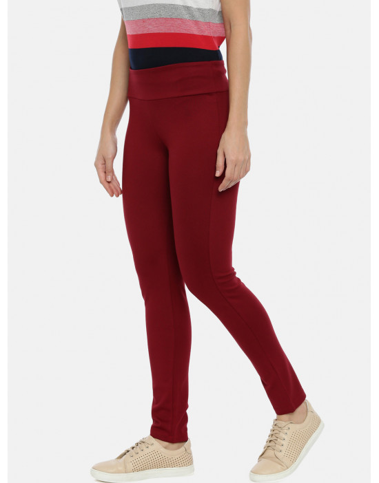 Womens Maroon Solid Regular...