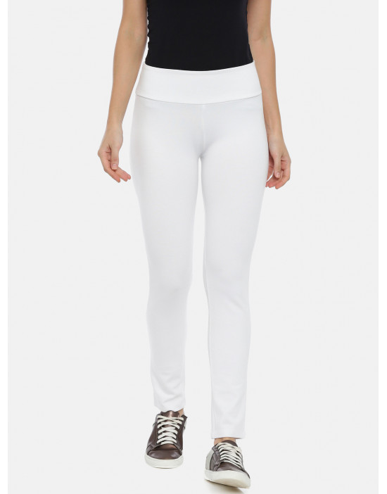 Womens White Solid Regular...