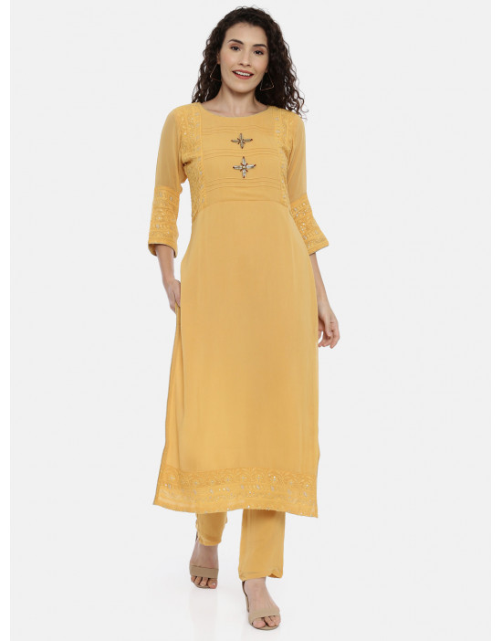 Womens Yellow embroidered...