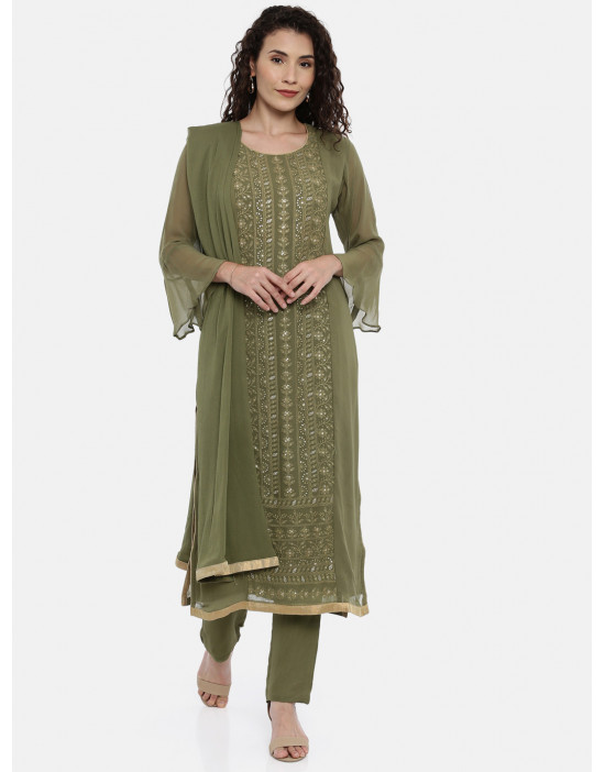 Womens Green embroidered...