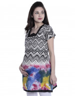 Women's Multicoloured Maternity Nursing Printed Kurti with Horizontal Zipper