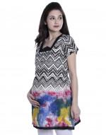 Women's Multicoloured Maternity Nursing Printed Kurti with Horizontal Zipper