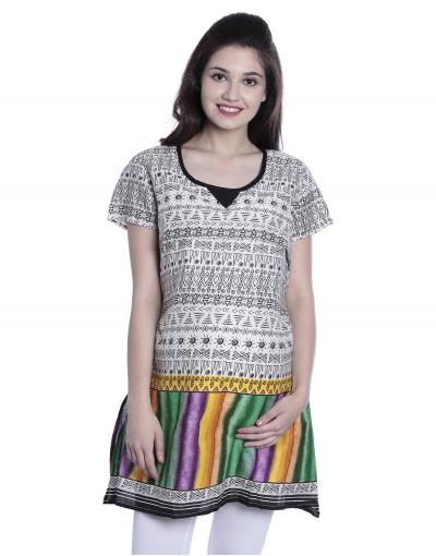 Women's Round Neck Printed Kurti with Horizontal Zipper - Goldstroms