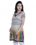 Round Neck Women Maternity Nursing Printed Kurti with Horizontal Zipper