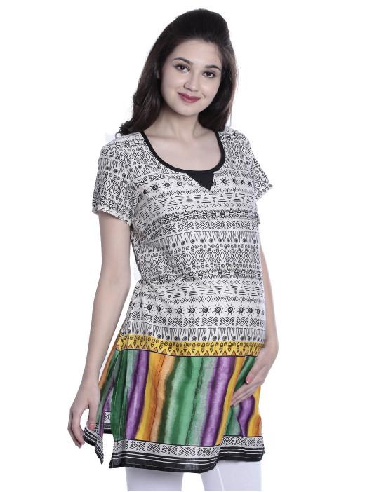Round Neck Women Maternity Nursing Printed Kurti with Horizontal Zipper