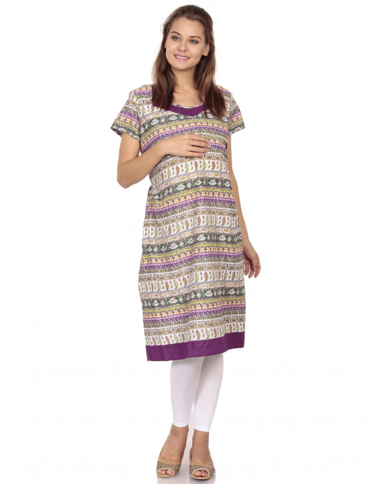Women's Nursing Printed Kurti with Horizontal Zipper - Goldstroms