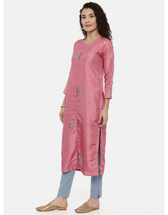 Womens Pink Embroidered...