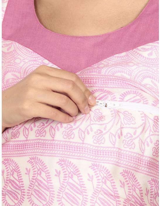 Women Maternity Nursing Printed Kurti with Horizontal Zipper