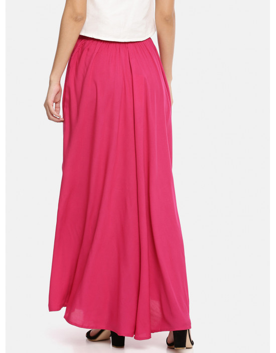 Womens Fuschia Plain Skirt...