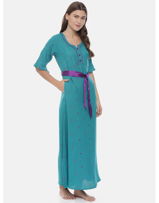 Womens Blue Color Printed...