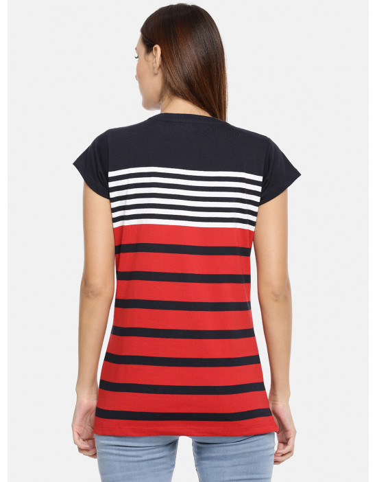 Womens Navy & Red Striped Top