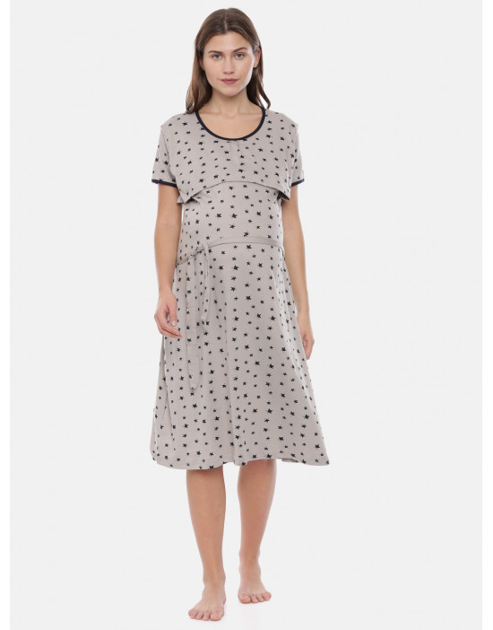 Womens Grey Printed...